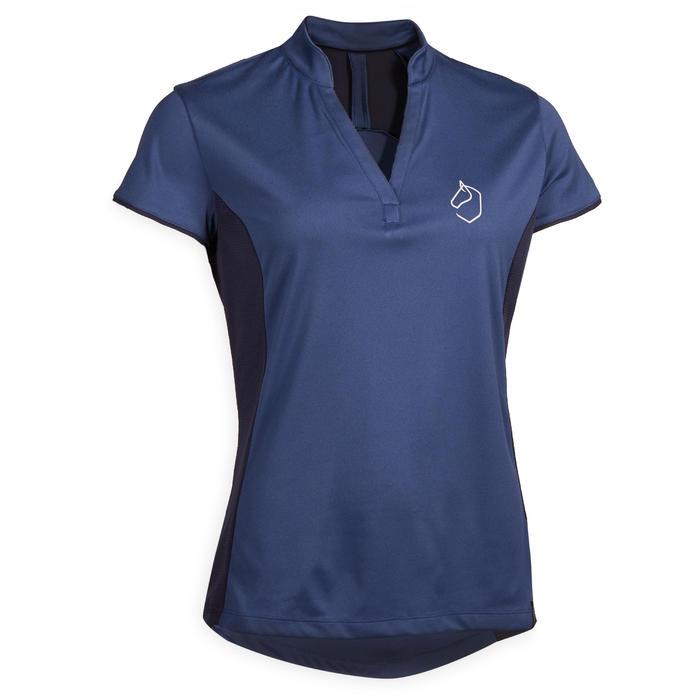 Damespolo met korte mouwen ruitersport 500 MESH donkerblauw en marineblauw
