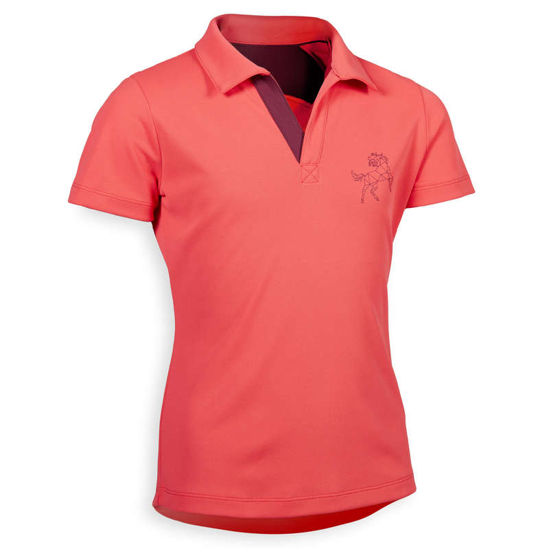 Îmbrăcăminte  echitație Jr. vreme caldă Echitatie - Tricou Polo 500 MESH Fete FOUGANZA - Echitatie