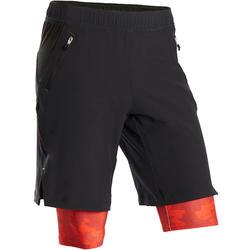 Ademende short voor gym jongens S900 dubbel zwart/rood