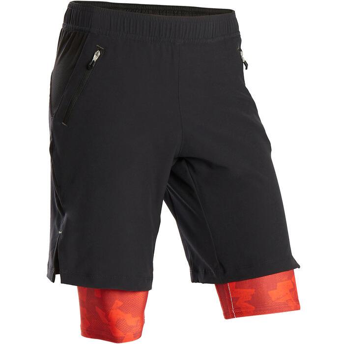 Short double respirant S900 garçon GYM ENFANT noir et rouge