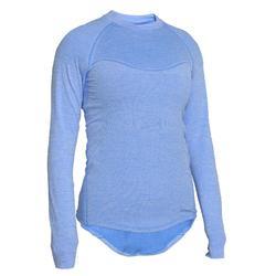 女款自行車長袖底層衣500 - 藍色