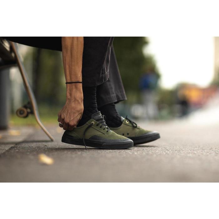 Lage skateschoenen voor volwassenen Vulca 500 kaki met zwarte zool