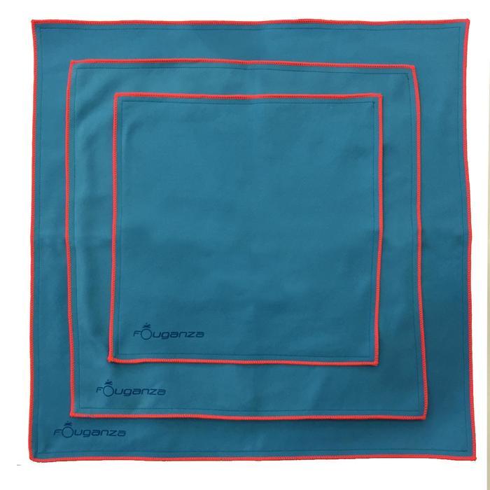 Set van 3 microvezeldoekjes ruitersport blauw - 174016