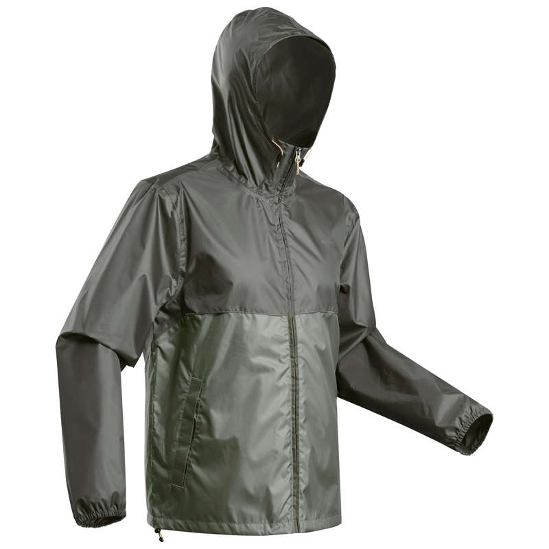 MEN NATURE HIKING JACKETS ALL WEATHER Hiking - NH100 Raincut Zip - Grey QUECHUA - Hiking Jackets