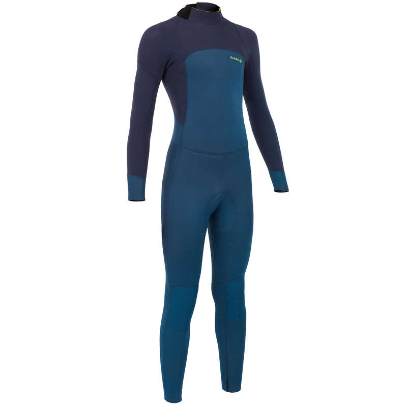 TEMPERED WATER WETSUIT Surf - KIDS' SW500TW - BLUE BLACK OLAIAN - Wetsuits
