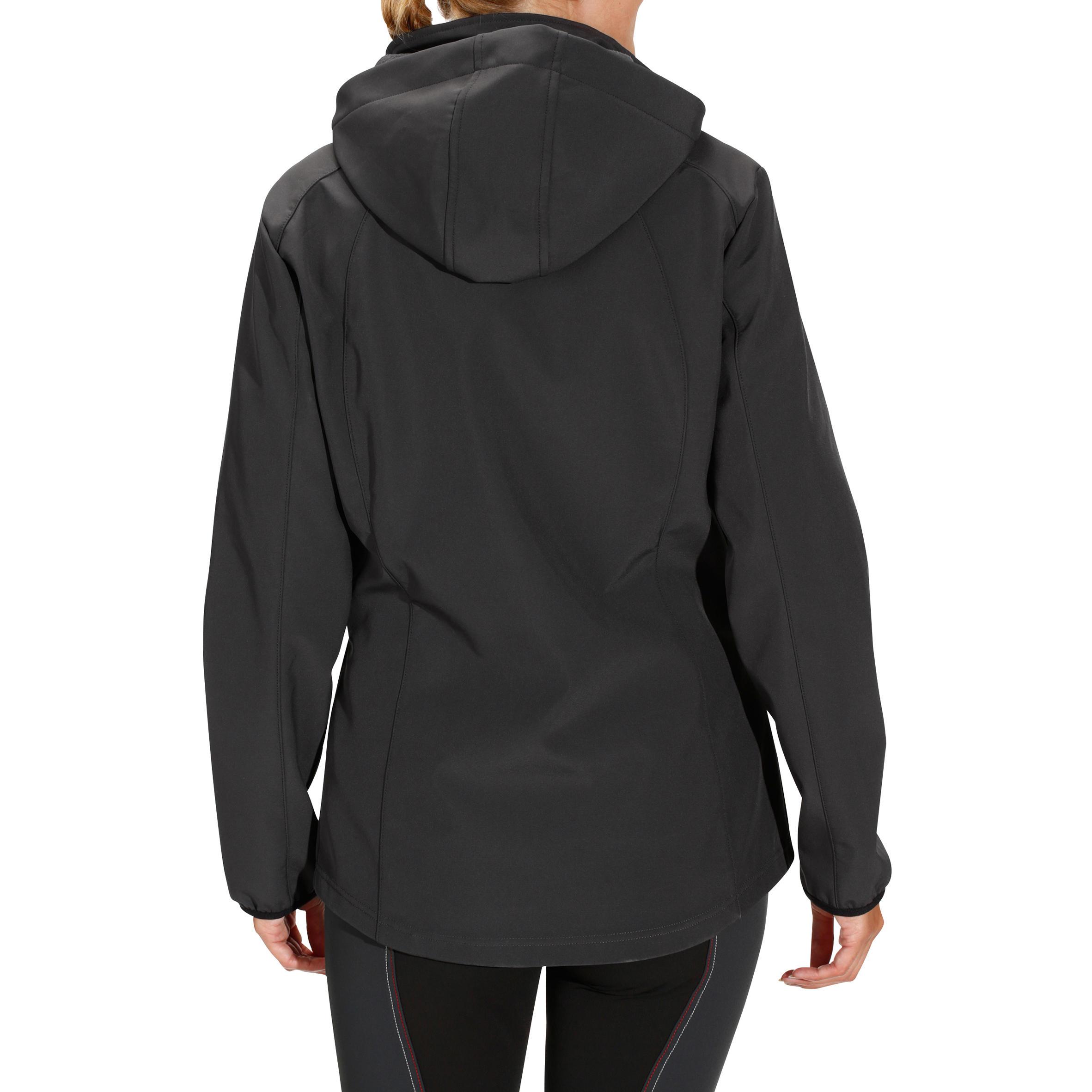 Veste à capuche équitation femme Softshell 700 gris foncé