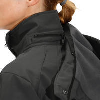 500 Softshell Women's Horseback Riding Hooded Jacket - Dark Grey