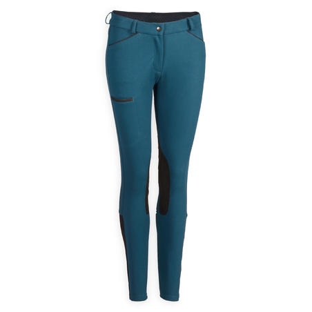 Women's Horse Riding Jodhpurs 150 with Grippy Suede Patches - Petrol Blue