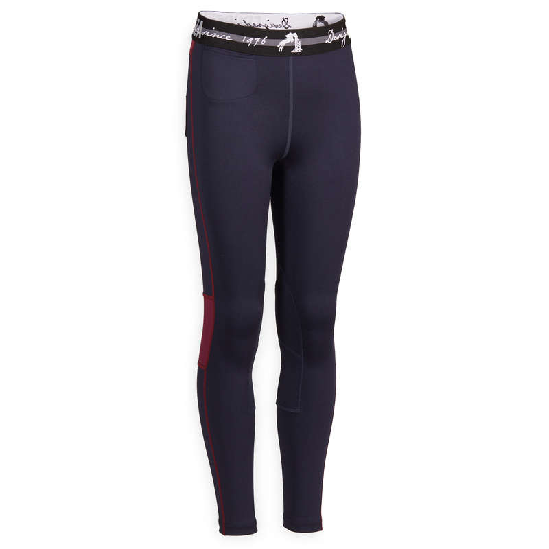 KID HOT WEATHER RIDING WEAR Horse Riding - 100 Light Jodhpurs - Navy FOUGANZA - Horse Riding Clothes