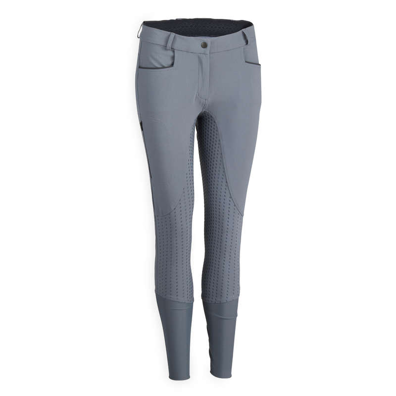 WOMAN HOT WEATHER RIDING WEAR Horse Riding - 580 Fullgrip Jodhpurs - Grey FOUGANZA - Horse Riding Clothes