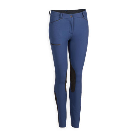 Women's Horse Riding Jodhpurs 150 with Grippy Suede Patches - Dark Blue