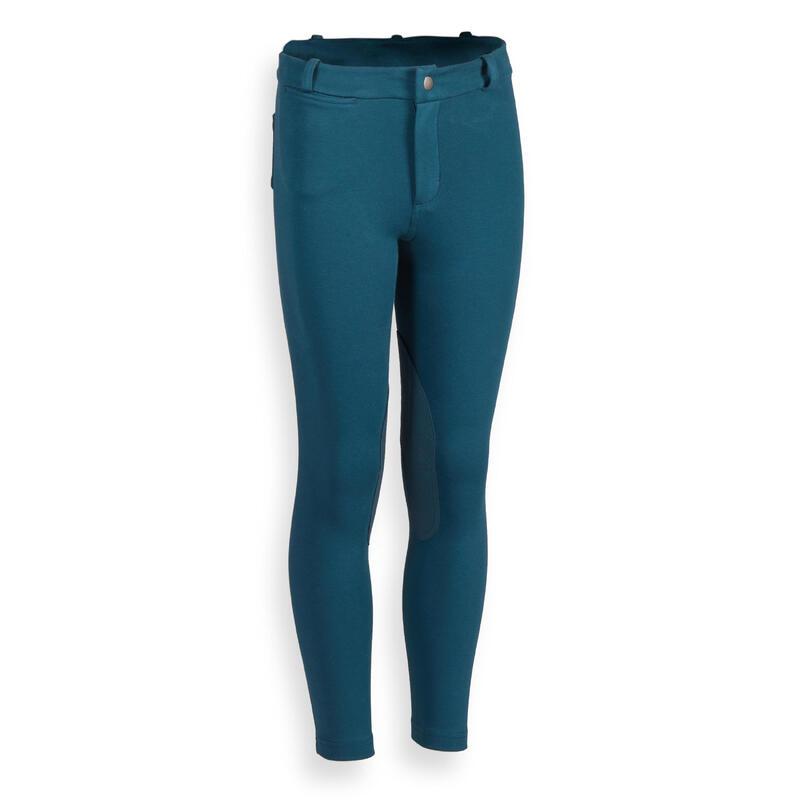 Pantalon équitation enfant 140 bleu pétrole