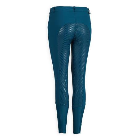 Women's Equestrian Jodhpurs 580 Light Fullgrip - Petrol Blue