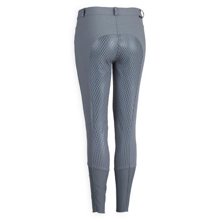 Women's Equestrian Jodhpurs 580 Light Fullgrip - Grey