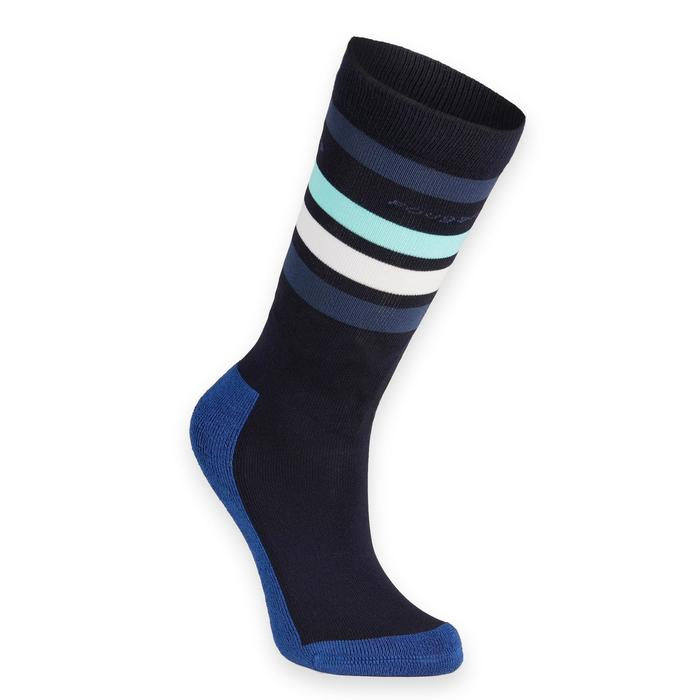 Chaussettes équitation fille 100 marine/rayures turquoise