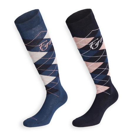 Adult Horse Riding Socks Losanges - Navy Blue/Pale Pink and Petrol Blue