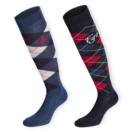 Adult Horse Riding Socks Lozenges - Navy Blue/Pink and Petrol Blue