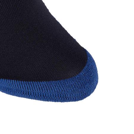 גרבי רכיבה לבנות דגם 100 - פסים כחול כהה/טורקיז