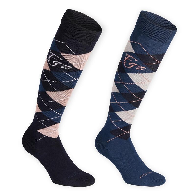 Chaussettes équitation adulte LOSANGES bleu marine/rose pâle et bleu pétrole