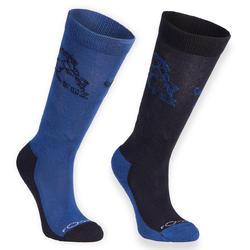 Paardrijsokken voor jongens ruitersport 500 Horse marineblauw/blauw