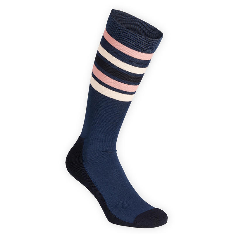 Adult Horse Riding Socks SKS100 - Dark Blue/Pale Pink Stripes