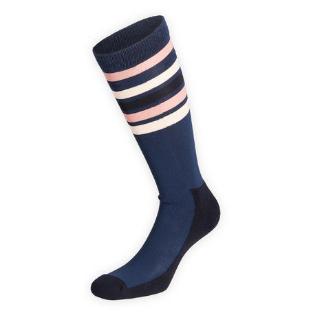 Adult Horse Riding Socks 100 - Dark Blue/Pale Pink Stripes