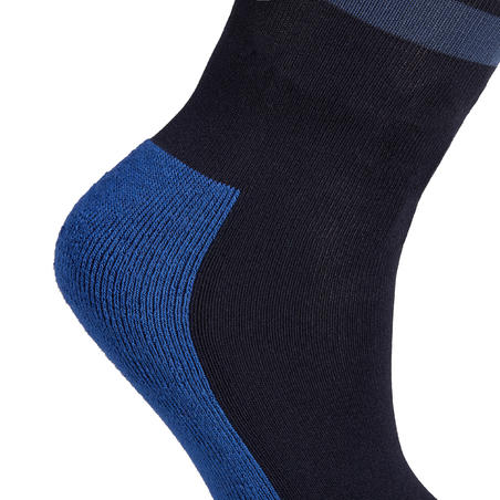 Girls' Horse Riding Socks 100 - Navy/Turquoise Stripes