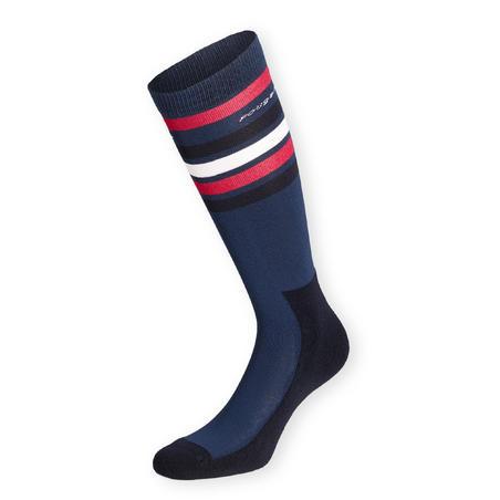 Adult Horse Riding Socks 100 - Dark Blue/Cherry Stripes