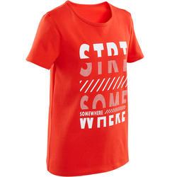 男童健身短袖T恤100 - 紅色印花
