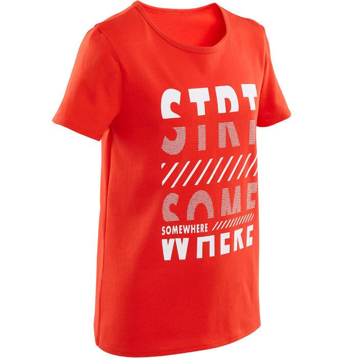 T-shirt met korte mouwen voor gym jongens 100 rood/opdruk