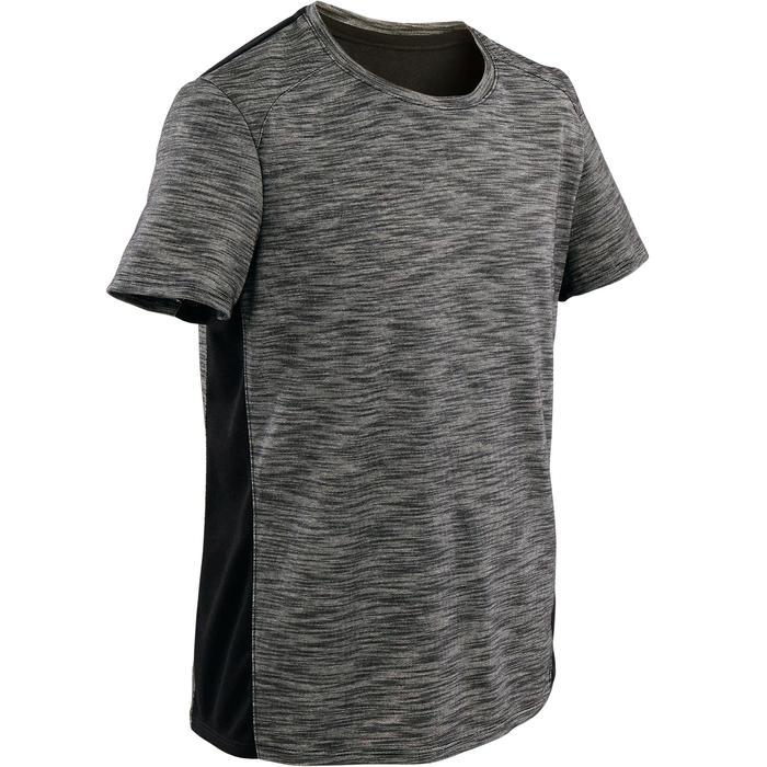 Ademend T-shirt met korte mouwen gym jongens 500 katoen gemêleerd donkergrijs