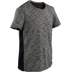 T-shirt manches courtes, coton respirant, 500 garçon GYM ENFANT gris foncé chiné