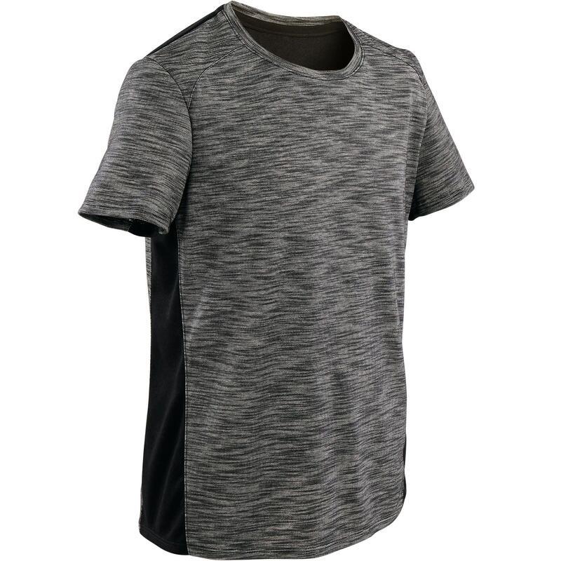 Boys' Breathable Cotton Short-Sleeved Gym T-Shirt 500 - Dark Grey