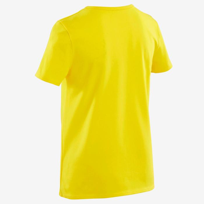 T-shirt met korte mouwen voor gym jongens 100 geel/opdruk