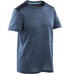 Ademend T-shirt met korte mouwen voor gym jongens S500 synthetisch blauw