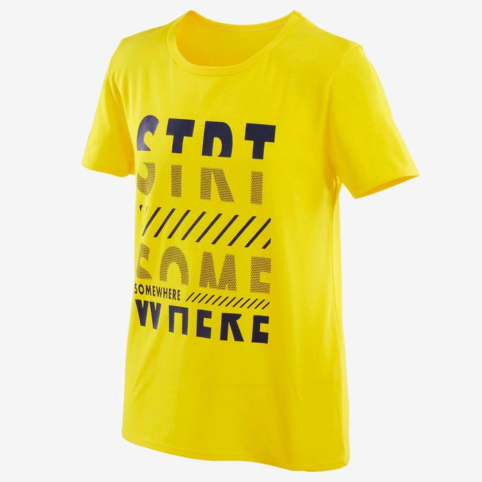 Boys' Short-Sleeved Gym T-Shirt 100 - Yellow Print