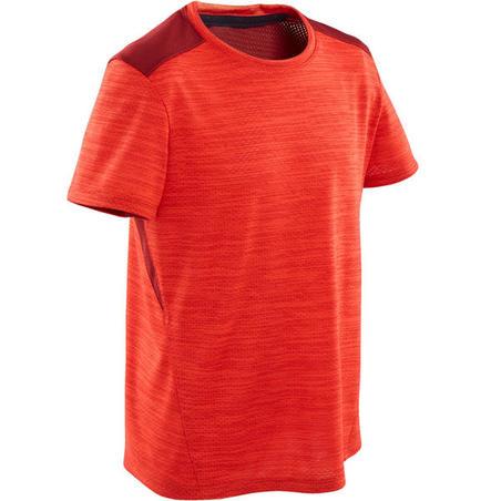 T-Shirt Senam Lengan Pendek Sintetis Breathable Laki-laki S500 - Merah