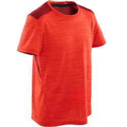 Ademend T-shirt met korte mouwen voor gym jongens S500 synthetisch rood
