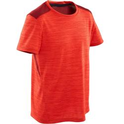 Boys' Breathable Synthetic Short-Sleeved Gym T-Shirt S500 - Red