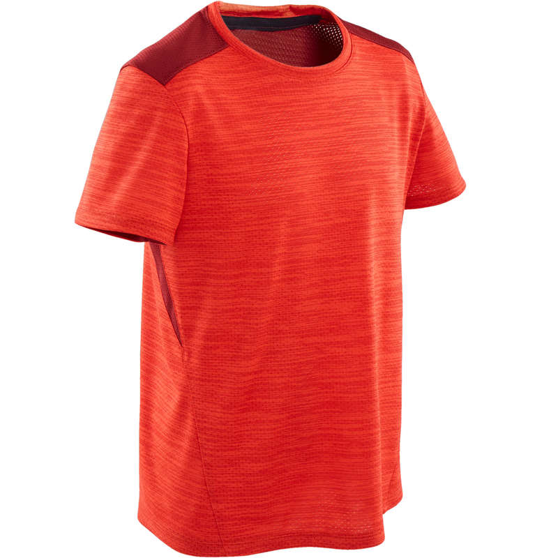 BOY EDUCATIONAL GYM APPAREL Fitness and Gym - Boys' Gym T-Shirt S500 - Red DOMYOS - Gym Activewear