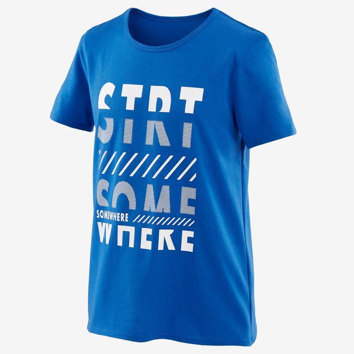男童健身短袖T恤100 - 藍色/印花