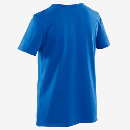 100 T-Shirt Senam Lengan Pendek Laki-laki - Biru/Putih Motif