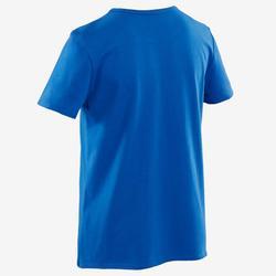 T-shirt met korte mouwen voor gym jongens 100 blauw met print