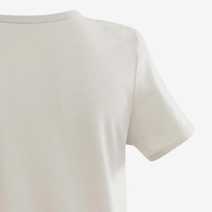 T-shirt met korte mouwen voor gym jongens 100 beige/opdruk