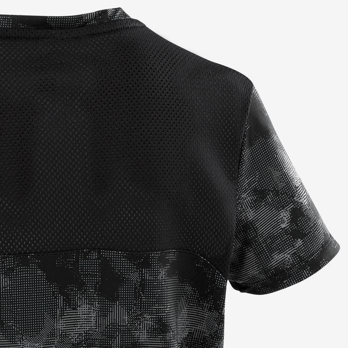 Camiseta manga corta sintética transpirableS500 niño GIMNASIA INFANTIL negro AOP