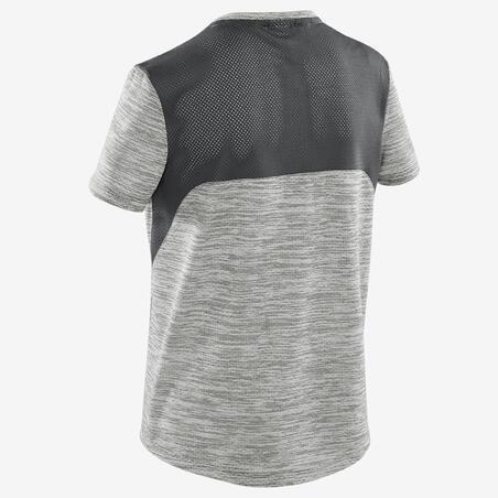 T-Shirt Gym Lengan Pendek Sintetis Berpori Anak Laki-laki S500 - Abu-abu