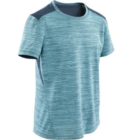 T-Shirt Senam Lengan Pendek Sintetis dan Breathable Laki-laki S500 - Biru Terang