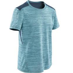 Ademend T-shirt met korte mouwen voor gym jongens S500 synthetisch lichtblauw