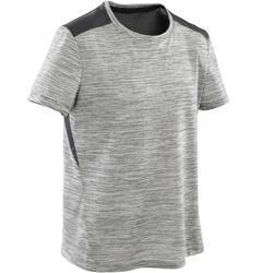 Ademend T-shirt met korte mouwen voor gym jongens S500 synthetisch grijs