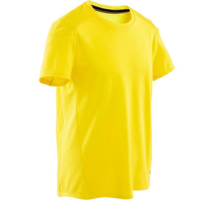 Ademend T-shirt met korte mouwen voor gym jongens 500 katoen geel